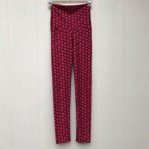 Emily Hsu Designs Heart Black Pink/Red Leggings XS